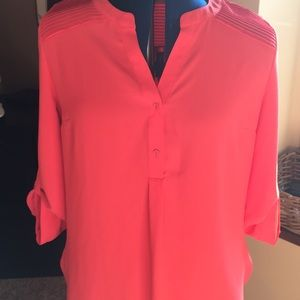 Coral blouse with pleats and buttons!
